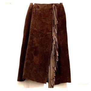 Vintage Suede fringe skirt